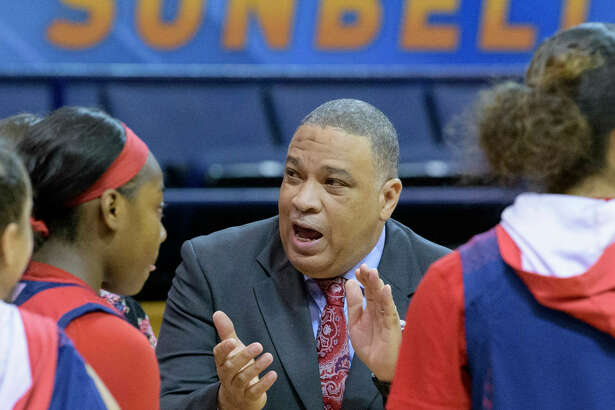 South Alabama head coach Terry Fowler talks to his players against Little Rock in the first half of an NCAA college basketball game during the championship game of the Sun Belt Conference women's tournament in New Orleans, La. Saturday, March 16, 2019. (AP Photo/Matthew Hinton)