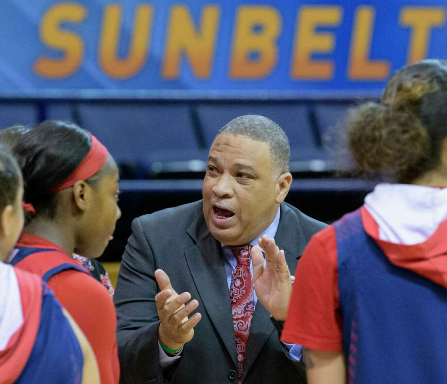 South Alabama head coach Terry Fowler talks to his players against Little Rock in the first half of an NCAA college basketball game during the championship game of the Sun Belt Conference women's tournament in New Orleans, La. Saturday, March 16, 2019. (AP Photo/Matthew Hinton) Photo: AP/Matthew Hinton
