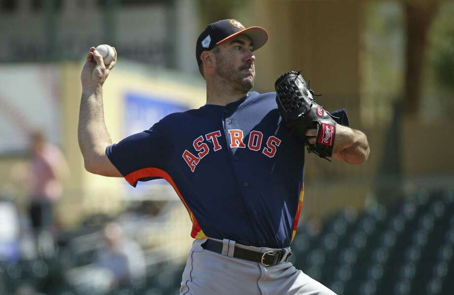 FILE - In this March 7, 2019, file photo, Houston Astros pitcher Justin Verlander throws during the first inning of a spring training baseball game against the Miami Marlins at the Roger Dean Chevrolet Stadium on Thursday, in Jupiter, Fla. (David Santiago/Miami Herald via AP, File) Photo: David Santiago, MBO / Associated Press / Miami Herald