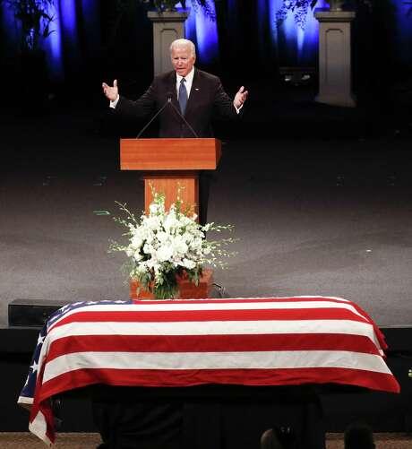 Former Vice President Joe Biden gives a tribute during a 2018 memorial service at North Phoenix Baptist Church in Phoenix for Sen. John McCain, R-Ariz.