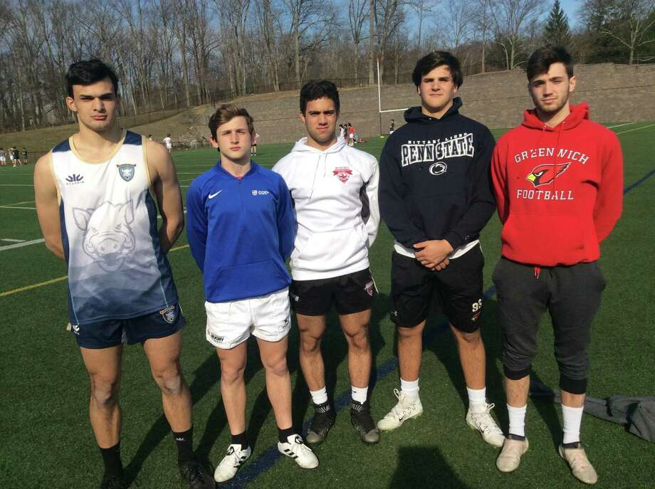 From left to right, Andrew Nanai, Lorenzo Villani, Paul Koullas, Emilio Camou and Larry DeLuca are senior captains of the Greenwich High School rugby team, which is coming off another state championship. Photo: David Fierro / Hearst Connecticut Media