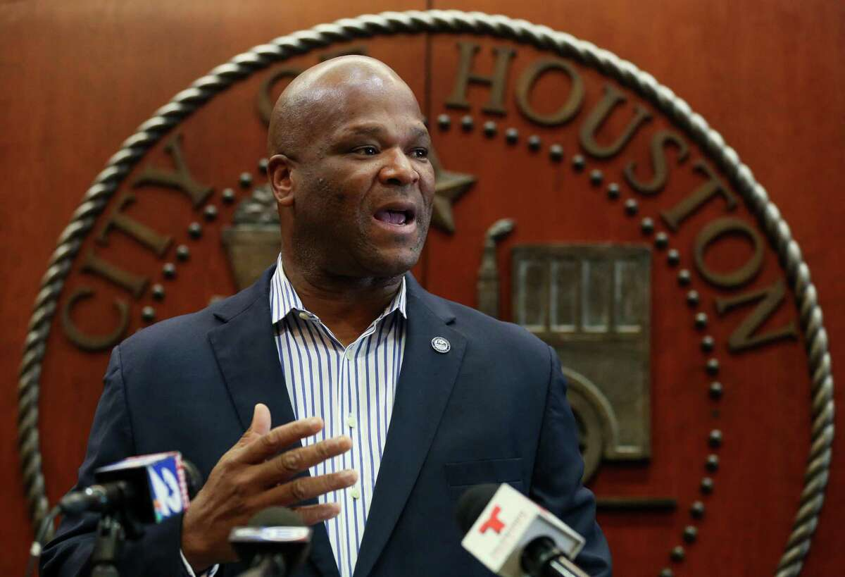 City Council Member Dwight Boykins talks to reporters about his opposition to the potential layoffs of Houston firefighters as the city moves toward implementation of voter-approved Proposition B during a press conference at the City Hall Annex building Friday, March 8, 2019.