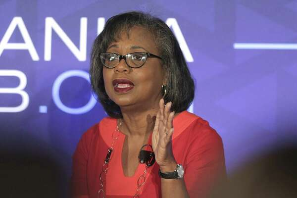 Anita Hill answers questions during a forum on Friday, Sept. 28, 2018, in Houston. Hill says one of the things that stood out to her from Supreme Court nominee Brett Kavanaugh's hearing was how his emotional and angry testimony compared to the calm testimony of the woman accusing him of sexual assault.