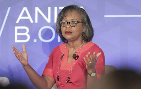 Prof. Anita Hill answers questions during a forum on the #MeToo movement during the Grace Hopper Celebration, a conference of women in technology on Friday, Sept. 28, 2018 in Houston. Ms. Hill was brought before the senate judiciary committee in 1991 during the confirmation hearing of Clarence Thomas.