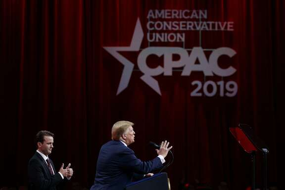 President Donald Trump, joined by conservative activist Hayden Williams, speaks at Conservative Political Action Conference, CPAC 2019, in Oxon Hill, Md., Saturday, March 2, 2019. (AP Photo/Carolyn Kaster)