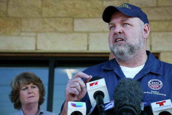 "EPA on-site coordinator Adam Adams said the biggest concerns are ""volatile organic chemicals"" and that no hazardous levels have been detected during a press conference Wednesday, March 20, 2019, in Deer Park, Texas. Firefighters extinguished the petrochemical fire at Intercontinental Terminals Company at roughly 3 a.m. Wednesday. ITC officials said the cause of the fire is still unknown."