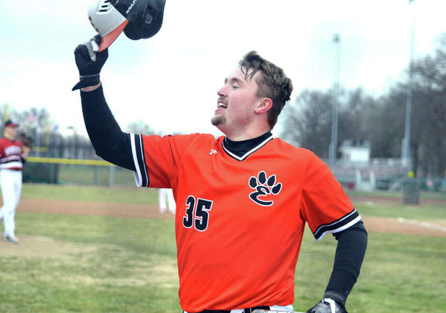 Edwardsville junior Jacob Kitchen celebrates after hitting a solo home run in the top of the seventh inning in Wednesday's game at Granite City. Photo: Scott Marion/Intelligencer