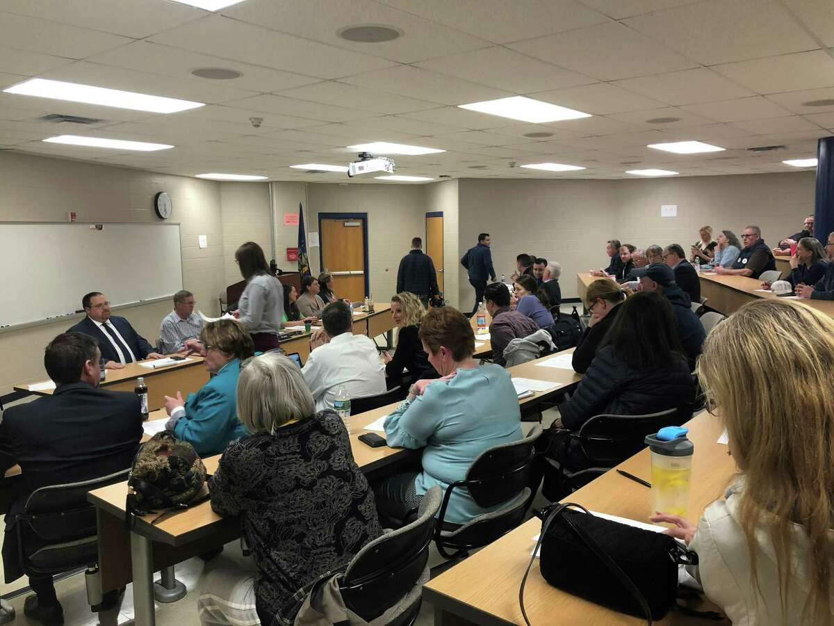 Residents attend the Rensselaer City School District board meeting to air their concerns about the nearby S.A. Dunn landfill on March 20, 2019. (Sara Cline/Times Union)