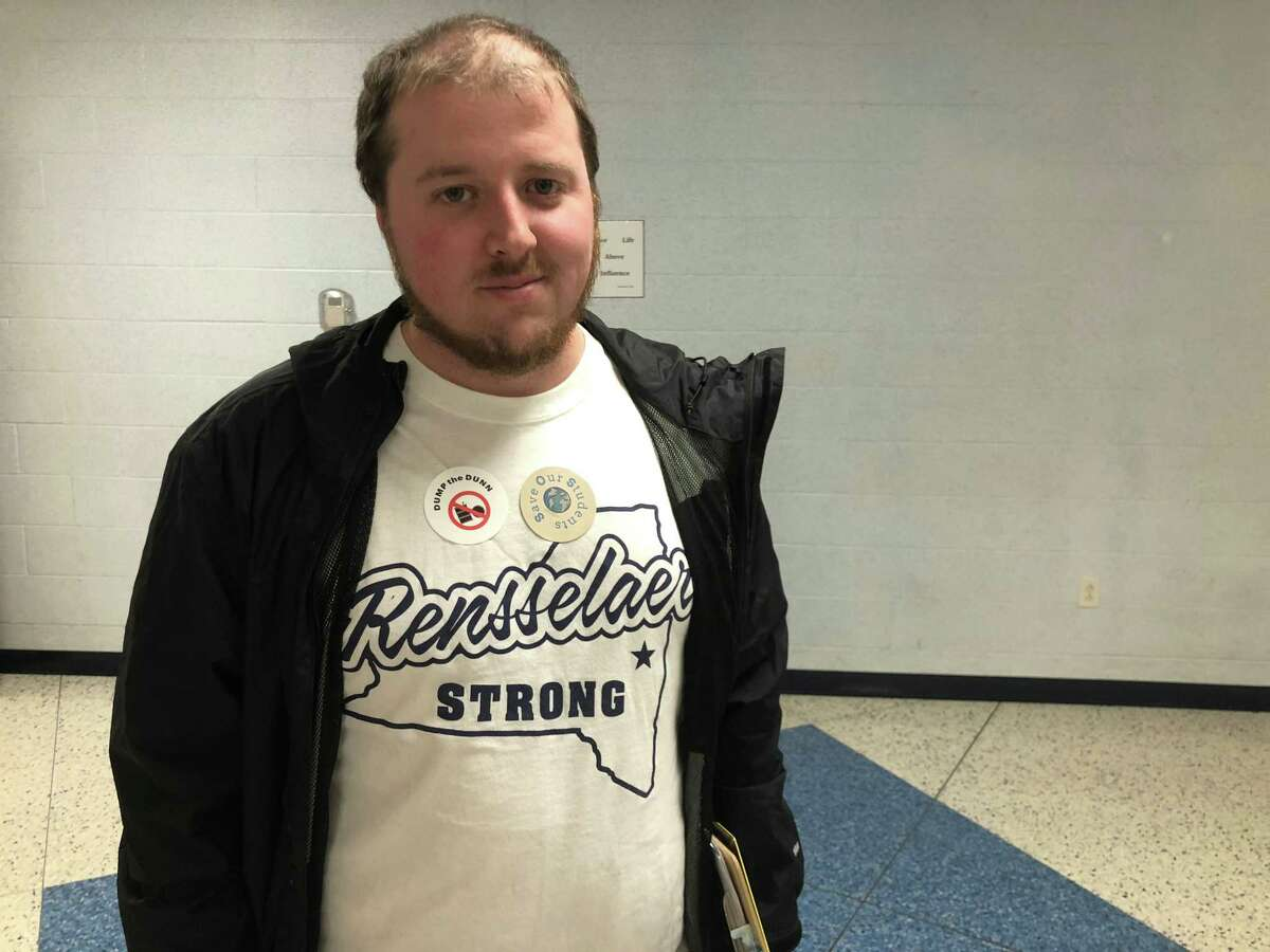 David Ellis was among residents who attended the Rensselaer City School District board meeting to air their concerns about the nearby S.A. Dunn landfill on March 20, 2019. (Sara Cline/Times Union)