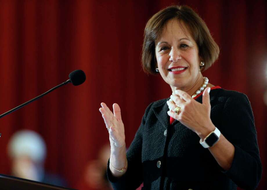 Carol Folt speaks after being named as University of Southern California's 12th president at Town & Gown of USC building in Los Angeles, Wednesday, March 20, 2019. The announcement comes a week after news broke of a massive college bribery scam involving USC and other universities across the country. Folt most recently was formerly the chancellor of the University of North Carolina at Chapel Hill (UNC). She will take office as USC's new president on July 1. (AP Photo/Damian Dovarganes) Photo: Damian Dovarganes / Copyright 2019 The Associated Press. All rights reserved.