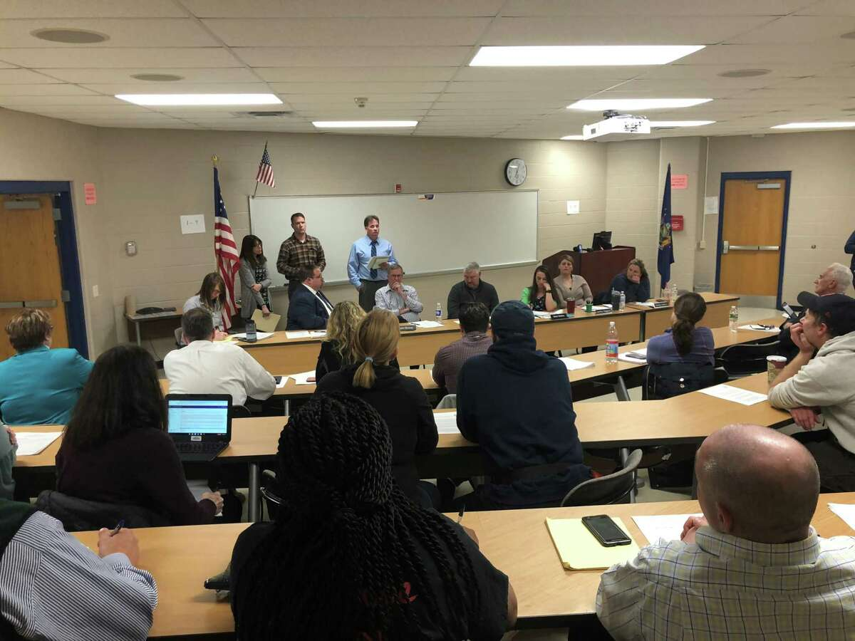 Residents attend the Rensselaer City School District board meeting to air their concerns about the nearby S.A. Dunn landfill on March 20, 2019.