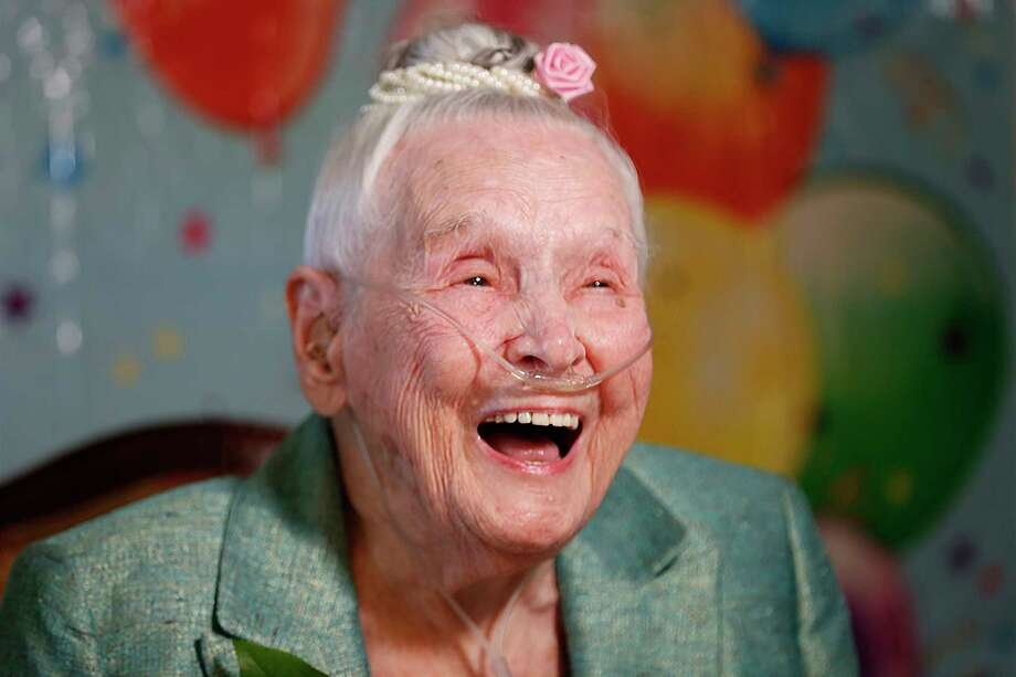 Mary Coffey, was born March 20,1909, celebrated her 110th birthday at the Colonial Oaks Senior Living at First Colony Wednesday, March 20, 2019, in Sugar Land. Photo: Steve Gonzales, Staff Photographer / © 2019 Houston Chronicle