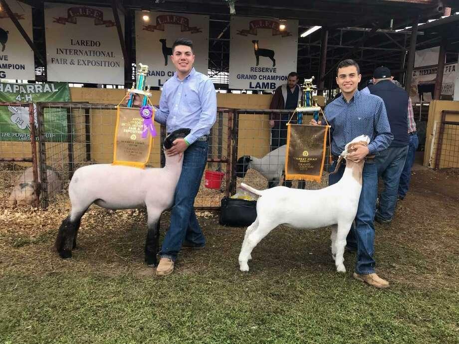 """Carlos """"Charlie"""" Romanos y Alejandro """"Ale' Quiroga, muestran orgullosos el premio Grand Champion Award que cada uno obtuvo, recientemente, por la crianza de una oveja y una cabra, respectivamente. Photo: Foto De Cortesêa"""