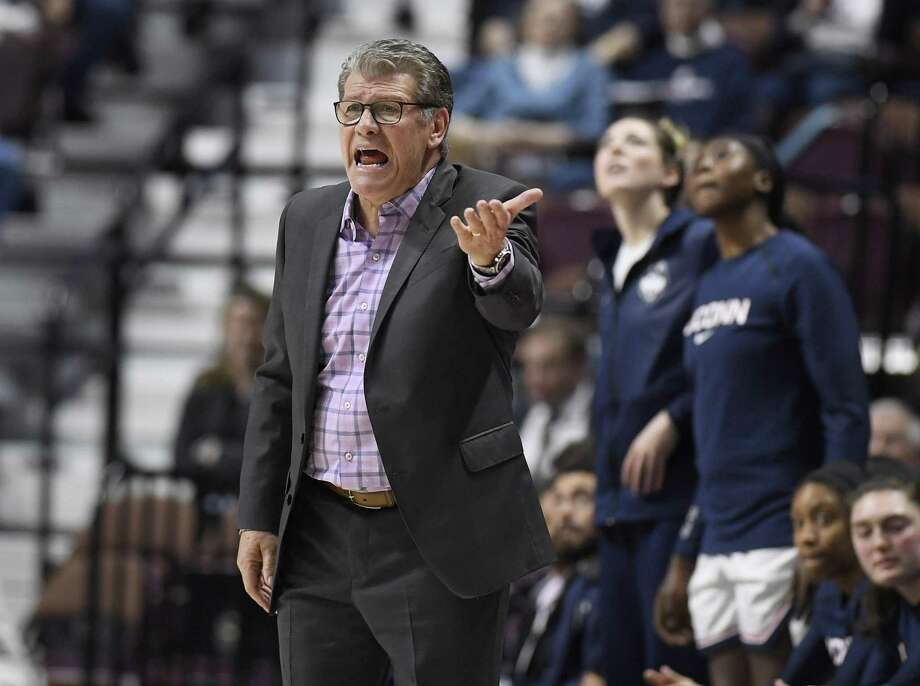Connecticut head coach Geno Auriemma during the first half of an NCAA college basketball game in the American Athletic Conference tournament semifinals, Sunday, March 10, 2019, at Mohegan Sun Arena in Uncasville, Conn. Photo: Jessica Hill / Associated Press / Copyright 2019 The Associated Press. All rights reserved