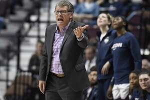 Connecticut head coach Geno Auriemma during the first half of an NCAA college basketball game in the American Athletic Conference tournament semifinals, Sunday, March 10, 2019, at Mohegan Sun Arena in Uncasville, Conn.