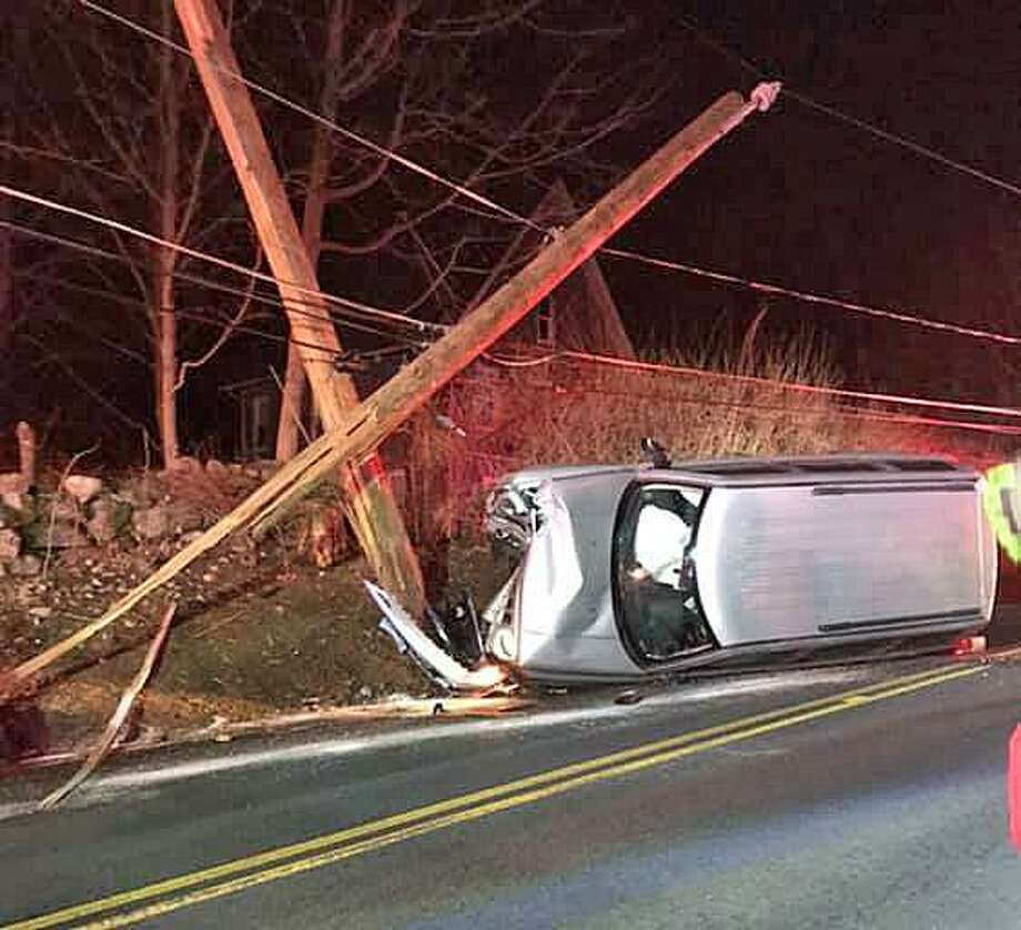 Maple Street will be closed between Haddad Road and Clinton Road due to a motor vehicle crash into a utility pole on Thursday, March 21, 2019. Photo: Seymour Police Department Photo