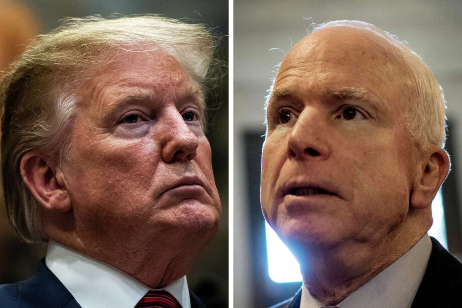 President Trump speaks during a signing ceremony for an executive order earlier this month; then-Sen. John McCain, R-Ariz., leaves the Senate floor in 2013. Photo: Washington Post Photos (from Left) By Jabin Botsford And Melina Mara. / The Washinghton Post