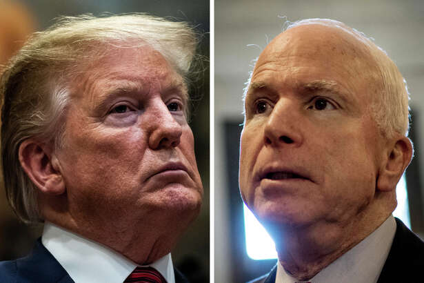 President Trump speaks during a signing ceremony for an executive order earlier this month; then-Sen. John McCain, R-Ariz., leaves the Senate floor in 2013.