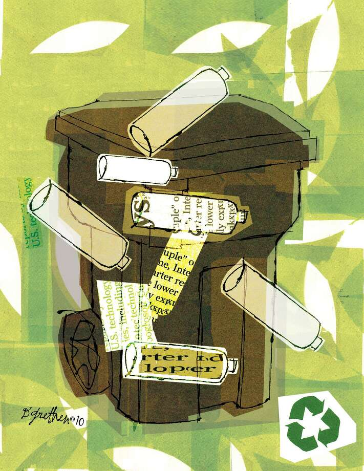 This artwork by Donna Grethen relates to recycling. Photo: Donna Grethen