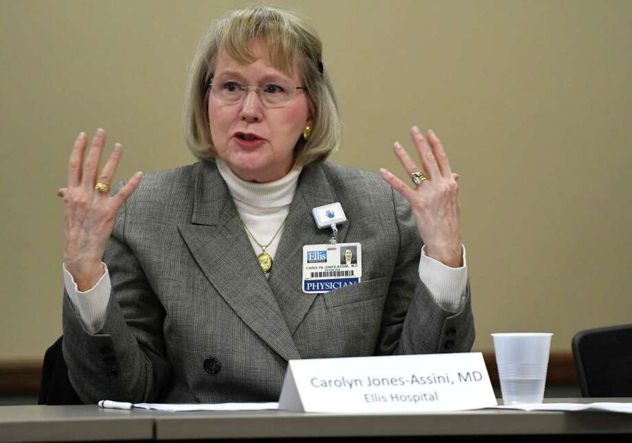 Dr. Carolyn M. Jones-Assini from Ellis Medicine participates in a roundtable with Capital Region Assembly members and business representatives to discuss the potential impacts of marijuana legalization on Thursday morning, March 21, 2019, at the Capital Region Chamber in Colonie, N.Y. (Will Waldron/Times Union) Photo: Will Waldron, Albany Times Union / 40046476A