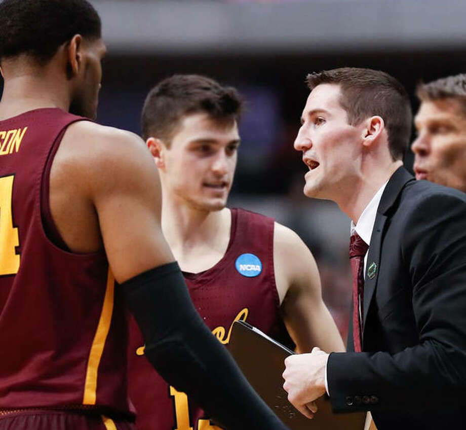 Loyola associate coach Bryan Mullins, right, has been named as the next men's basketball coach for the SIU Carbondale Salukis. Photo: Loyola Ramblers Athletics