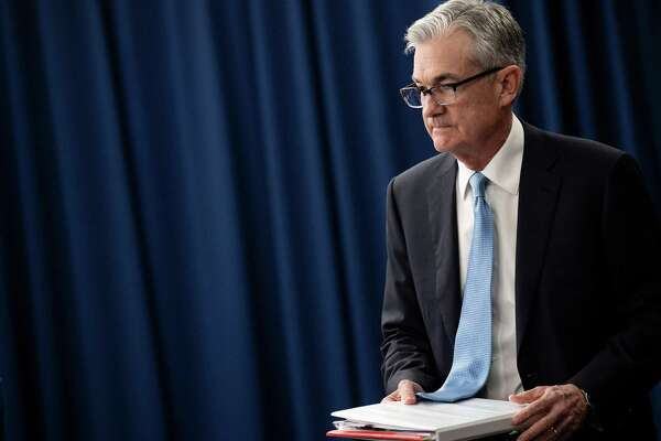 US Federal Reserve Chairman Jerome Powell arrives to speak to the press after a Federal Open Market Committee meeting on March 20, 2019 in Washington, DC. The Fed kept the benchmark borrowing rate unchanged and forecast no more increases this year. (Photo by Brendan Smialowski / AFP)BRENDAN SMIALOWSKI/AFP/Getty Images