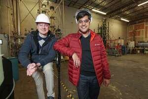 Sean Hunt (left), co-founder and chief technology officer of Solugen and Gaurab Chakrabarti, co-founder and CEO of Solugen Tuesday, March 5, 2019, in Houston. Solugen discovered part of a protein that can be used to make hydrogen peroxide. At room temperature and normal pressure, the company combines oxygen, water, sugar and a proprietary catalyst to create hydrogen peroxide.