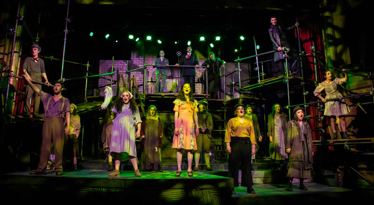 """The cast of Playhouse Stage Company's production of """"Urinetown,"""" running at Cohoes Music Hall. (Photo by Molly McGrath/Playhouse Stage Company.)"""