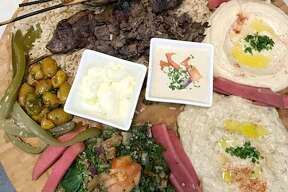 A sampler patter of Lebanese dishes from Mr. Chickpea