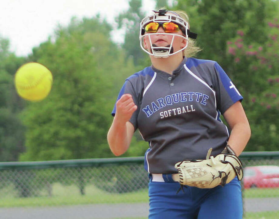 Marquette Catholic's Taylor Whitehead, shown in a game last season, threw two hitless innings Wednesday in the Explorers' season-opening 27-1 win over Brussels at Moore Park in Alton. Photo: Greg Shashack / The Telegraph