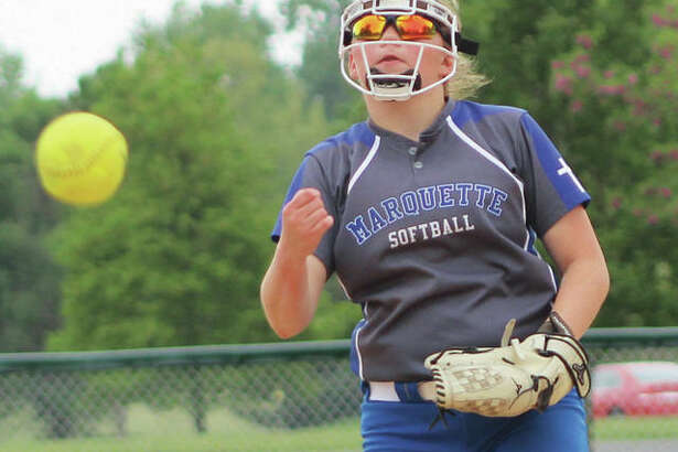 Marquette Catholic's Taylor Whitehead, shown in a game last season, threw two hitless innings Wednesday in the Explorers' season-opening 27-1 win over Brussels at Moore Park in Alton.