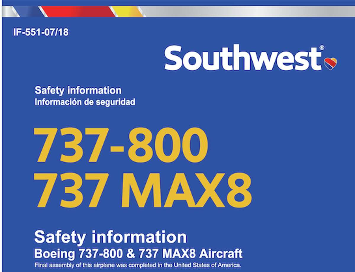 Southwest Airlines uses the same seatback pocket safety card for both 737-800 and MAX 8 jets