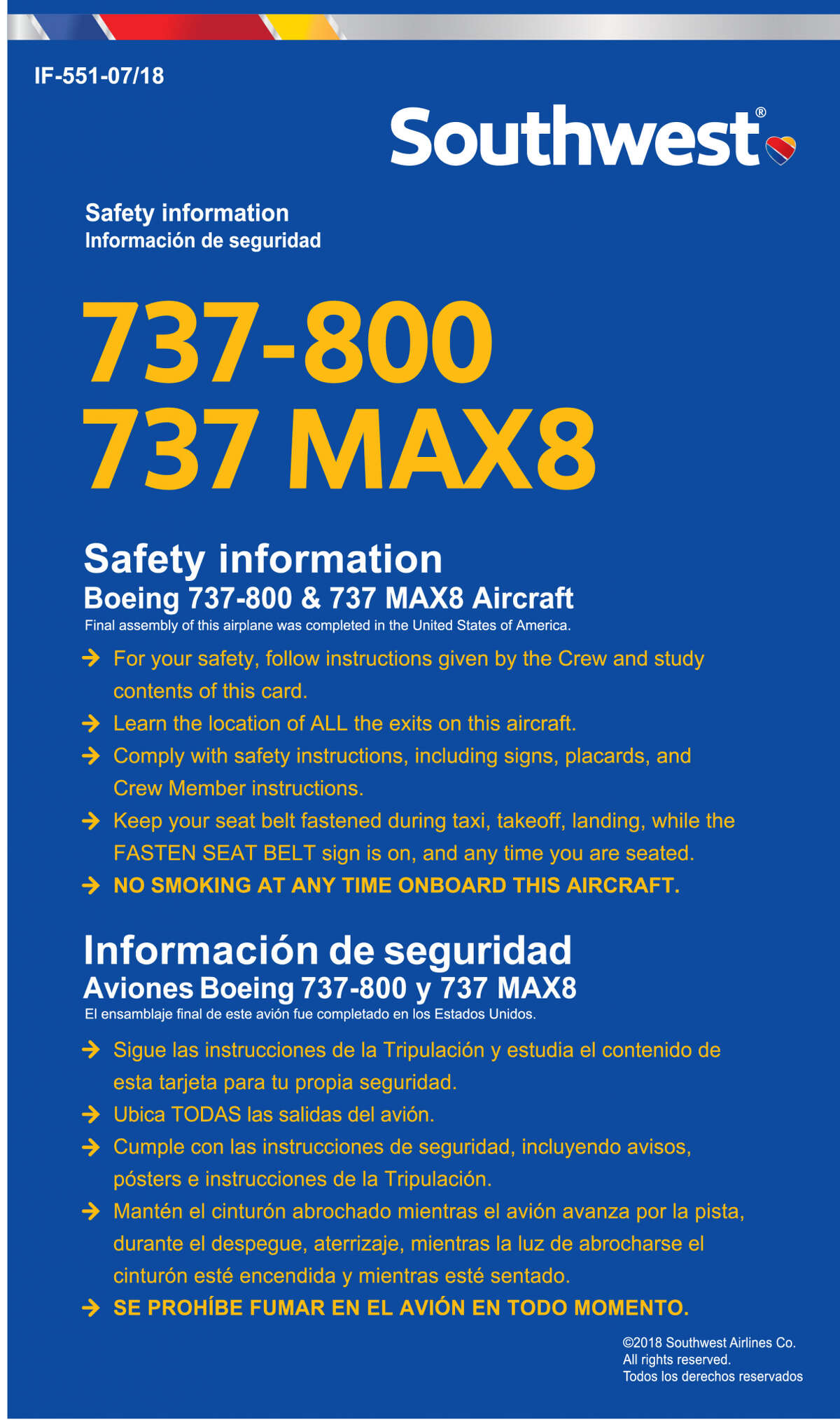 Southwest Airlines uses the same safety card for both 737-800 and MAX 8 jets