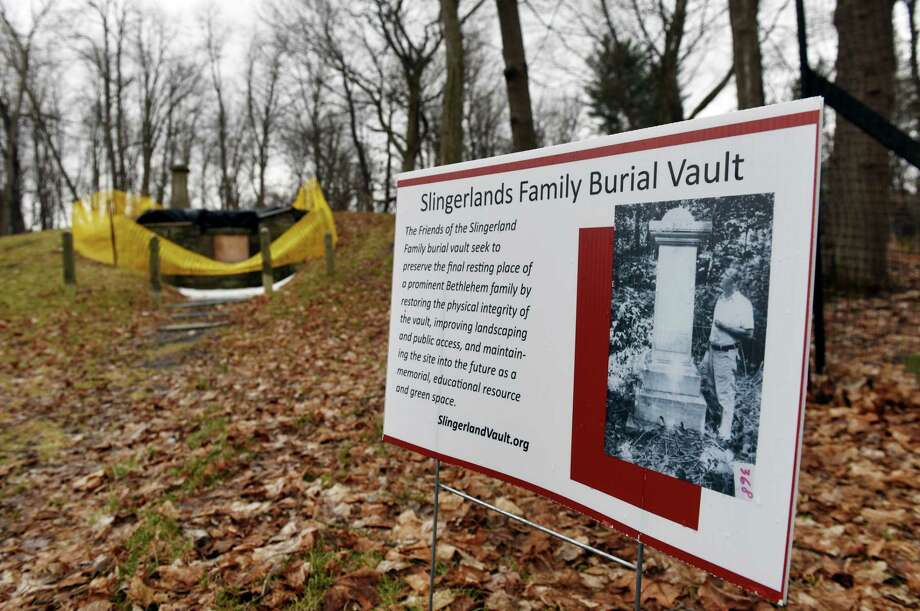 The Slingerland vault on Thursday, March 21, 2019, in Slingerlands, N.Y. The Bethlehem nonprofit group raising money to repair the site are unveiling a historical marker and painting that are expected to provide even more momentum to the fundraising efforts. (Will Waldron/Times Union) Photo: Will Waldron, Albany Times Union / 40046495A
