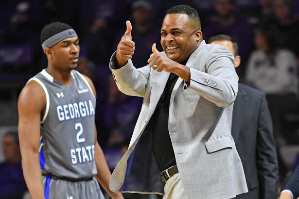MANHATTAN, KS - DECEMBER 15: Head coach Ron Hunter of the Georgia State Panthers reacts after a play against the Kansas State Wildcats during the first half on December 15, 2018 at Bramlage Coliseum in Manhattan, Kansas. (Photo by Peter G. Aiken/Getty Images)