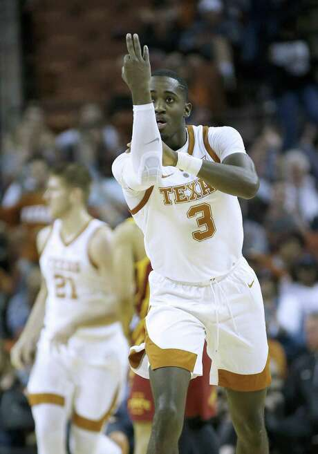 AUSTIN, TEXAS - MARCH 02: Courtney Ramey #3 of the Texas Longhorns reacts after scoring a three point shot against the Iowa State Cyclones at The Frank Erwin Center on March 02, 2019 in Austin, Texas. (Photo by Chris Covatta/Getty Images)