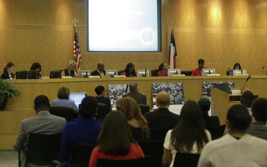 Houston ISD board members are shown after they returned from a closed executive session Tuesday, April 24, 2018 in Houston. ( Melissa Phillip / Houston Chronicle ) Photo: Melissa Phillip, Staff / Houston Chronicle / © 2018 Houston Chronicle