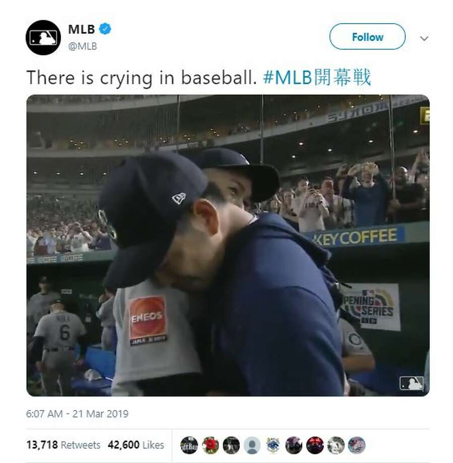 A video shared by the Major League Baseball Twitter account shows rookie Yusei Kikuchi becoming emotional as Ichiro Suzuki's career comes to an end. Photo: Twitter Screen Grab