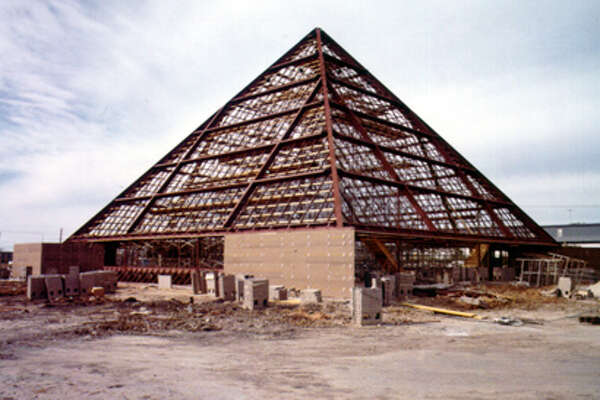"1974: The ""Golden Pyramid"" under construction."