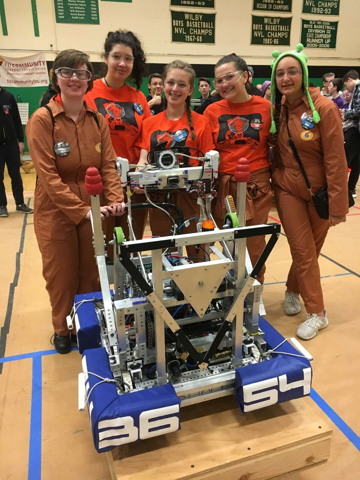 """The Mercy High School Middletown TechTigers all-girl robotics team excelled at this year's game """"Destination: DEEP SPACE."""""""