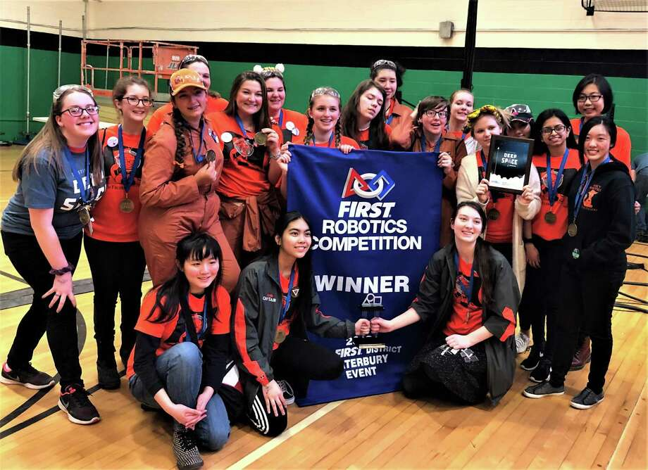 The Mercy High School Middletown TechTigers 3654 won its second FIRST Robotics championship banner March 10 at the Waterbury District event. Photo: Contributed Photo