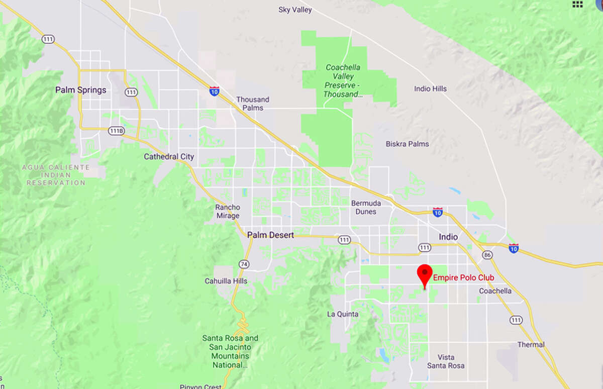 Coachella is at the Empire Polo Club in Indio, 21 miles from Palm Springs Airport.