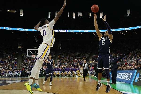 JACKSONVILLE, FLORIDA - MARCH 21: Azar Swain #5 of the Yale Bulldogs takes a shot against Kavell Bigby-Williams #11 of the LSU Tigers in the second half during the first round of the 2019 NCAA Men's Basketball Tournament at VyStar Jacksonville Veterans Memorial Arena on March 21, 2019 in Jacksonville, Florida. (Photo by Sam Greenwood/Getty Images)