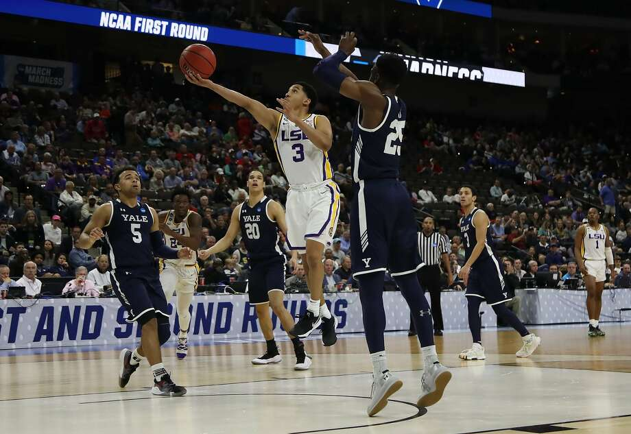 JACKSONVILLE, FLORIDA - MARCH 21:  Tremont Waters #3 of the LSU Tigers takes a shot against Miye Oni #25 of the Yale Bulldogs in the first half during the first round of the 2019 NCAA Men's Basketball Tournament at VyStar Jacksonville Veterans Memorial Arena on March 21, 2019 in Jacksonville, Florida. (Photo by Sam Greenwood/Getty Images) Photo: Sam Greenwood, Getty Images