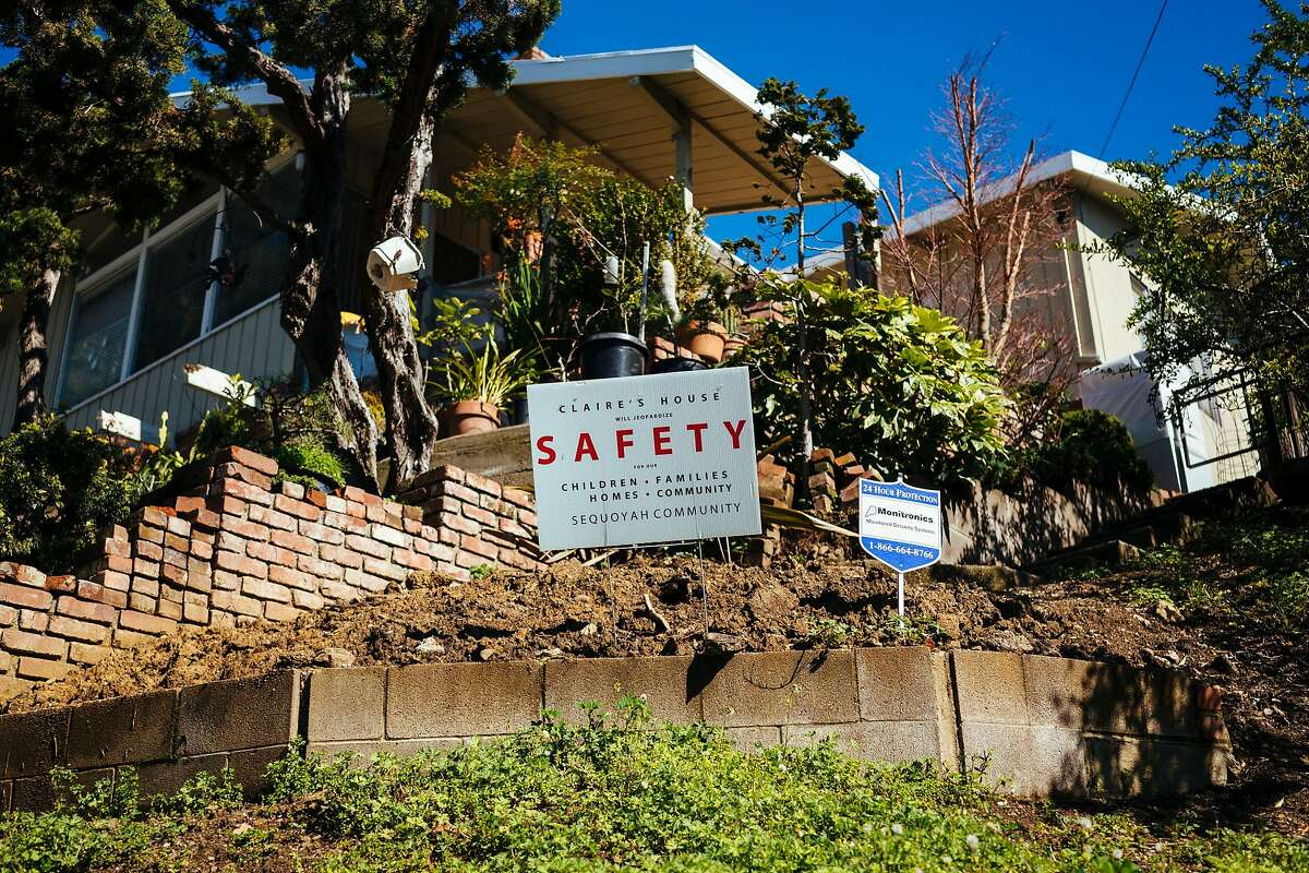 A sign in opposition to the Claire's House photographed in the Sequoyah neighborhood in Oakland, Calif., on Monday, March 11, 2019.