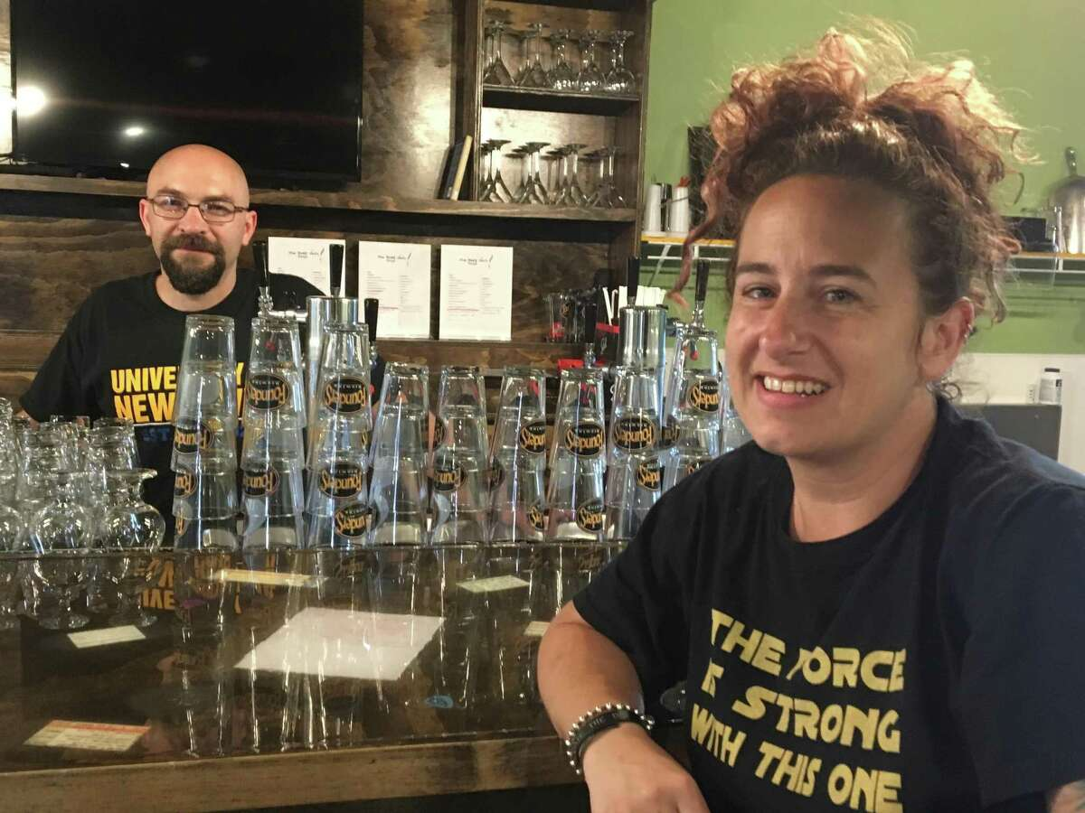 The Rough Draft owners Chris Scionti, left, and Karen Robinson, photographed talking about the business's opening June 24, 2018. The venue closed Monday April 8, 2019.