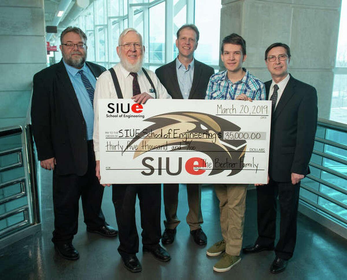 (L-R) SIUE School of Engineering (SOE) Director of Development Brian Moeller, Emmet Beetner, Daryl Beetner, freshman Andrew Schalk of the Beetner family, and SIUE SOE Dean Cem Karacal.