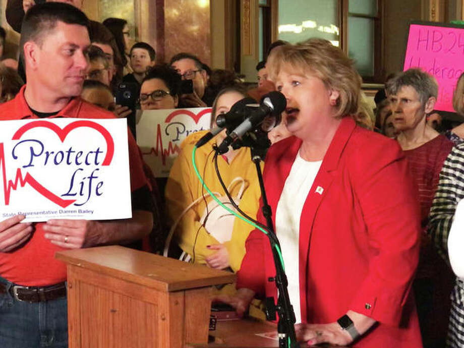 State Rep. Terri Bryant (R-Murphysboro) speaks during a protest Wednesday in the rotunda of the Capitol in Springfield against two abortion bills being considered by the General Assembly. Bryant urged everyone in attendance to fill out an electronic witness slip on the Illinois General Assembly's website in opposition to both pieces of legislation. She said she would request each of the thousands of names be read on the floor of the House. Photo: Rebecca Anzel | Capitol News Illinois