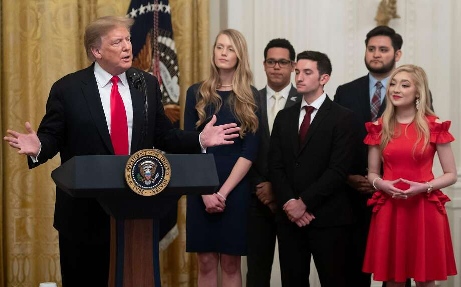 US President Donald Trump speaks before signing an executive order to protect free speech on college campuses during a ceremony in the East Room of the White House in Washington, DC, March 21, 2019. Photo: Saul Loeb, AFP/Getty Images