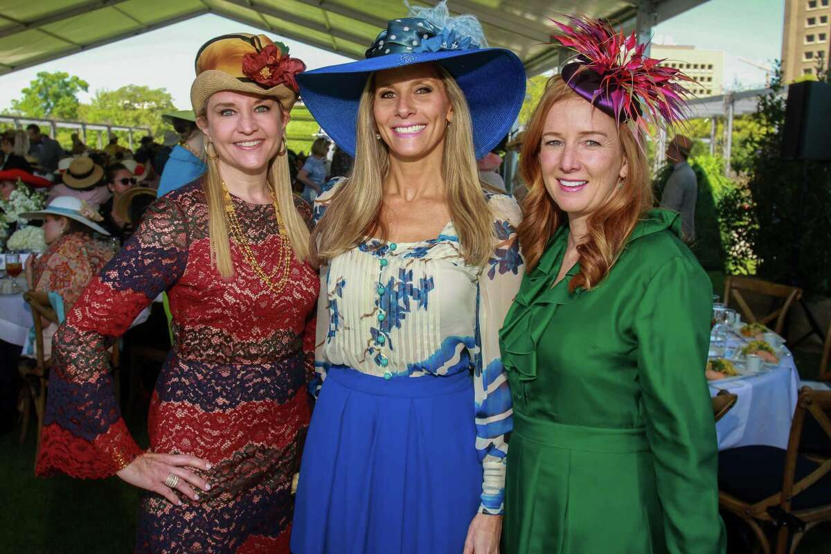 Mary D'Andrea, from left, Gina Bhatia and Allison Thacker at the Hermann Park Conservancy's annual Hats in the Park luncheon at Cherie Flores Garden Pavilion at McGovern Centennial Garden.